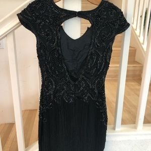 A. J. Bari black silk sequin beaded holiday dress